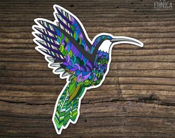 Vinyl hummingbird sticker, zentangle doodle sticker, decal laptop sticker, art sticker, phone sticker, Ipad sticker, car sticker