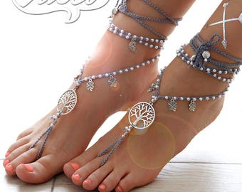 Gray Barefoot Sandals. Hippie Shoes. Destination Wedding