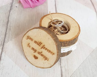 wedding ring box, wooden ring box, ring bearer box, engraved wooden box, round ring box, rustic ring box, bride and groom ring bearer boxes