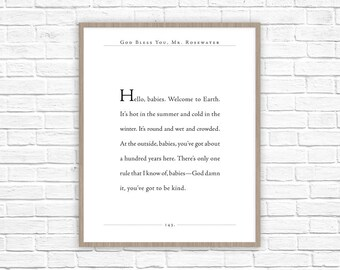 Kurt Vonnegut Quote | God Bless You Mr. Rosewater Print | Hello Babies Book Quote | Literary Gift | Classic Quote |