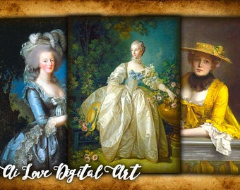 Digital collage sheet Vintage Ladies 18th Century, instant download vintage ephemera gift tags printable images, greeting cards, aceo cards