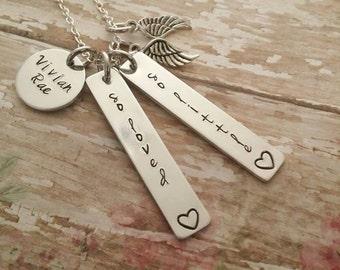 Personalized miscarriage necklace, memorial necklace, miscarriage jewelry, remembrance necklace, child loss, stillborn necklace, memorial