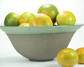Big ceramic bowl, blue green bowl, Big Bowl, ceramic bowl, Big Pasta Dish, fruit bowl, Christmas Gifts, Large Stoneware Bowl, wedding gift
