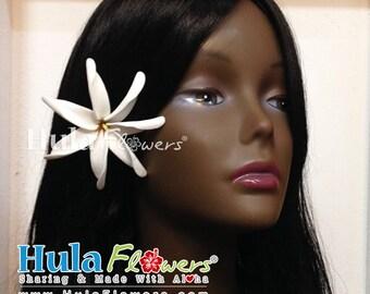 TIARE Tahitian Gardenia Hair Clip or Stem, Polynesian flowers, Tiare-05