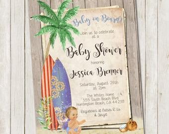 Beach Baby Shower Invitation, Rustic Baby Shower Invitation, Girl Or Boy,  Surf Invitation