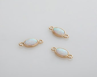 White Opal Pendant, opal connector, Opal Oval gemstone, Dainty pendants, Opal Charm Polished Gold Plated - 2 Pieces [G012802-PGWH]