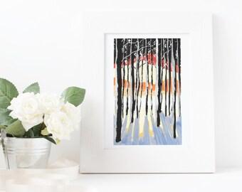 Sunset Forest Gouache Print 4x6