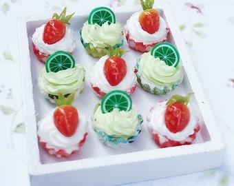 Miniature Cupcake 10 pcs.,Miniature Cake,Miniature Bakery,Miniature Sweet,Dollhouse cake,miniature Strawberry Cake,miniature Lime