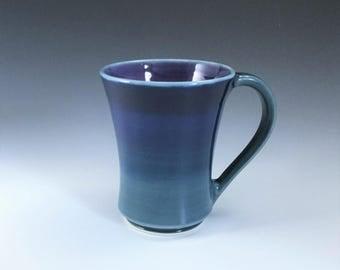 Ceramic Coffee Mug, Large Ceramic Mug, Ombre Blue & Purple Ceramic Mug, Ceramic Coffee Cup, Porcelain Mug, Tea Mug, Wheelthrown Pottery Mug