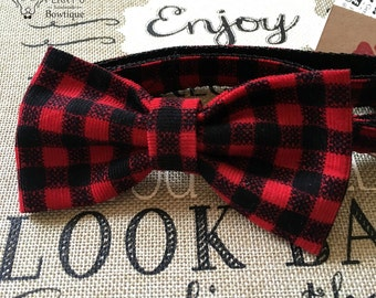 Red & Black Checkered Bow Tie and Collar OR Bow Tie Only *OPTIONAL