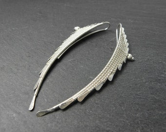 Turia earrings in solid silver weave for women