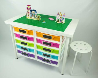 Building Desk with 2 attached  five drawer storage unit, 20x30 inch building area, 1 Stool