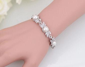 Vintage Wedding Bracelet, Vintage Silver Bracelet, Art deco Wedding Bracelet, Silver Wedding Bracelet, Art deco Bridal Bracelet