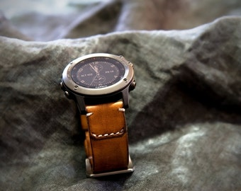 Fenix 3 and 5 Leather Watch Strap - Tomahawk Camel