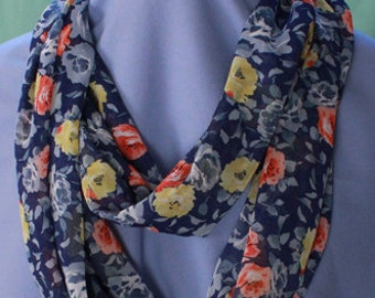 Infinity Scarf, Floral Print, Chiffon
