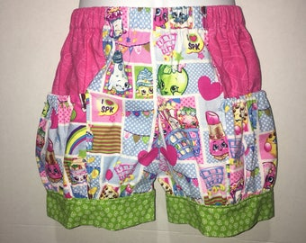 Girls Shopkins Shorts Kookie Cookie Lippy Lips Apple  Baby Toddler Boutique Bubble Shorts with Side Pocket Birthday Party Outfit Every Day
