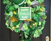 St. Patrick's day wreath, St. Patrick's day deco mesh wreath, St. Patrick's day mesh wreath, St. Patrick's day wreaths, Leprechaun wreath