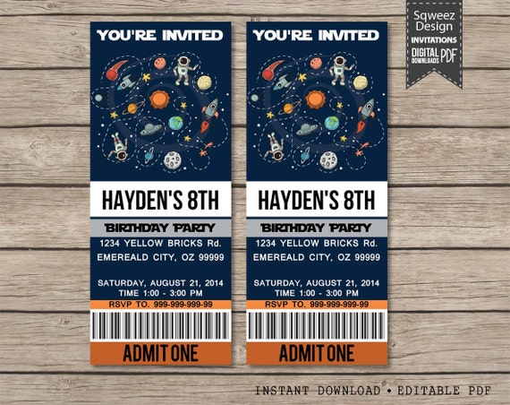 Science invitation space party invitations birthday ticket il570xn filmwisefo Choice Image