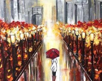New york in the rain, original painting, unique piece