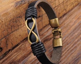 Black Leather Bracelet, Infinity Bracelet, Mens Infinity Bracelet, Mens Gift, Mens Jewelry, Fathers Day Gift JLA-86