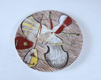 Fornasetti Plate (9 inch) - Strumenti Musicali / Musical Instruments Plate by Piero Fornasetti - Milano, Italy