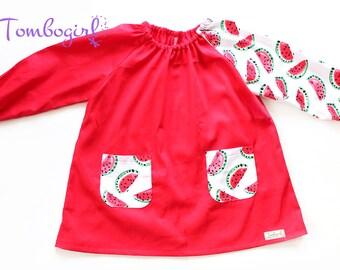 Kids Art smock, Apron, Long sleeve, with pockets, cotton art smock, Australian made - Watermelon