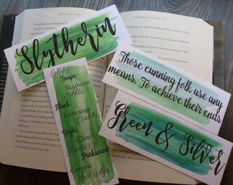 Slytherin Watercolor Bookmarks