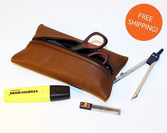 Leather Pencil Case! Handmade Case! Leather Pencil Pouch. Brown Pencil Case! FREE SHIPPING WORLDWIDE!