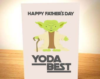 Yoda Best - Funny Father's Day Card - Designed and Printed in Yorkshire - Free Post - Cheeky