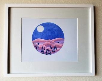 Moonlit Mountain Drawing