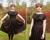 Vintage VTG 1950s Shiny Black Party Dress with Bow and Gathered Waist