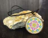 Sacred geometry pendant. Esoteric handmade jewel. Gift for her. Pink yellow green.