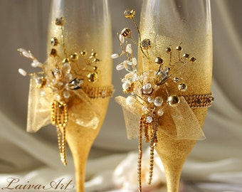 Champagne Wedding Champagne Flutes Wedding Champagne Glasses White Wedding Decoration