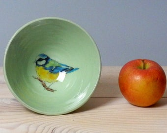 Small green  bowl - Bird bowl - Handmade bowl - bluetit  bowl - bird lovers gift - trinket dish - pottery bowl - mothers day gift