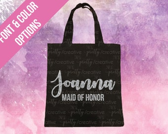 Maid of Honor Name Black Soft Canvas Tote -  Silver or Gold Glitter Text