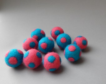 Add a Wool Ball to your Cat Toy Gift Box / Turquoise and Pink