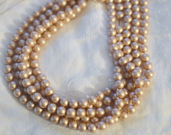 50 ~ Powder Almond 8MM 5810 Swarovski Crystal Beads Pearls ~ Continuous Strand with Stringing Cord