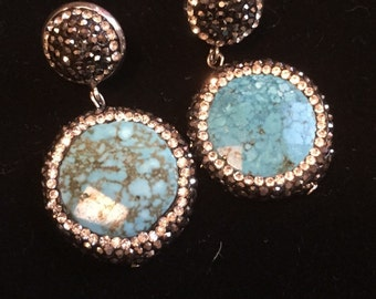 Turquoise and Swarovski crystal earrings