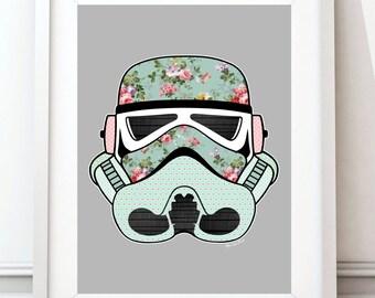 Vintage Stormtrooper, Star Wars poster art, Star Wars print, Cath Kidston, Nursery Art, Stormtrooper, Movie Print, Star Wars Gift