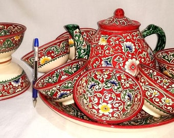 Uzbek national set of dishes handmade-0417