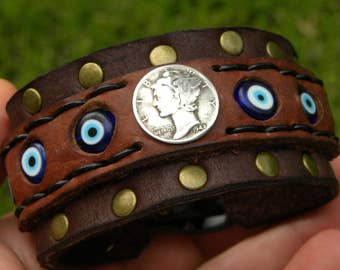 Evil Bad Eye Kabbalah Protection Adjustable Good Luck Buffalo Bison leather Bracelet vintage MERCURY DIME  various dates  coins
