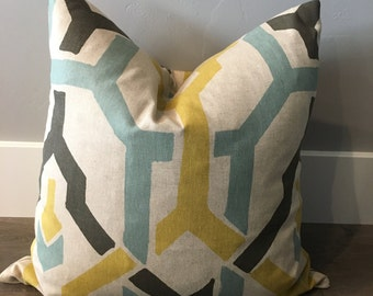 Teal/Yellow Down Feather Pillow