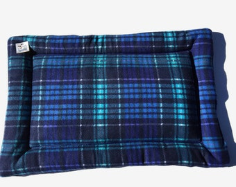 Blue Plaid Dog Bed, Fleece Pet Pad, Large Dog Bed, Crate Pad, Puppy Bedding, Couch Cover, Fleece Crate Mat, Pet Travel Items, Dog Gift