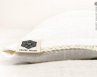 Linen pillow sham with lace-softened linen antique white colour pillow-deco lumbar pillow-off white pillow case- decorative pillow with lace
