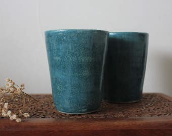 Handmade Pair of Ceramic Tumbler Cups/Mugs