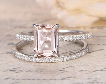Limited Time Sale: 1.50 Carat Peach Pink Morganite  (emerald cut Morganite) and Diamond Engagement Ring Wedding Bridal Set in 10k White Gold