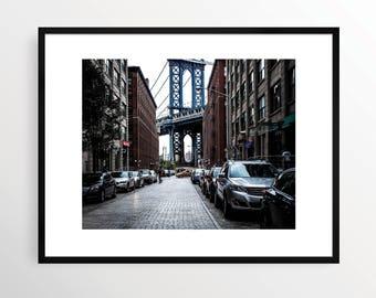 New York City Photography Print NYC Black and White B&W NY art Urban Monochrome Color City DUMBO Brooklyn Street walk