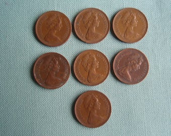 Seven Copper Great Britain New Penny Collectible Coin Money C372