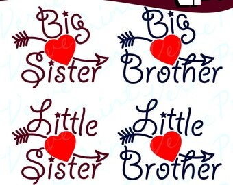 Bundle, Big Sister, Little Sister, Big Brother, Little Brother, Svg, Ai, Eps, Pdf, Png Cutting file, Vector Clipart, Iron On, Sublimation