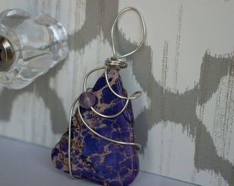 Purple Wired Wrapped Pendant